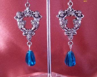 Silver Cherub Teal Blue Teardrop Dangle Earrings