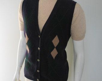 Vintage 1980s Collegiate Prep Tomboy Argyle Sweater Vest M L