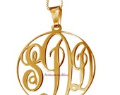 """Round Monogram Necklace 1.5""""  wide Pendant 14k Yellow Gold Plated over Sterling Silver"""