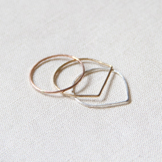Tiny Set of Three Threads of Rose - Silver - Gold - Teardrop - Square Top - Round - Hammered Stack Rings -  Mixed Metals