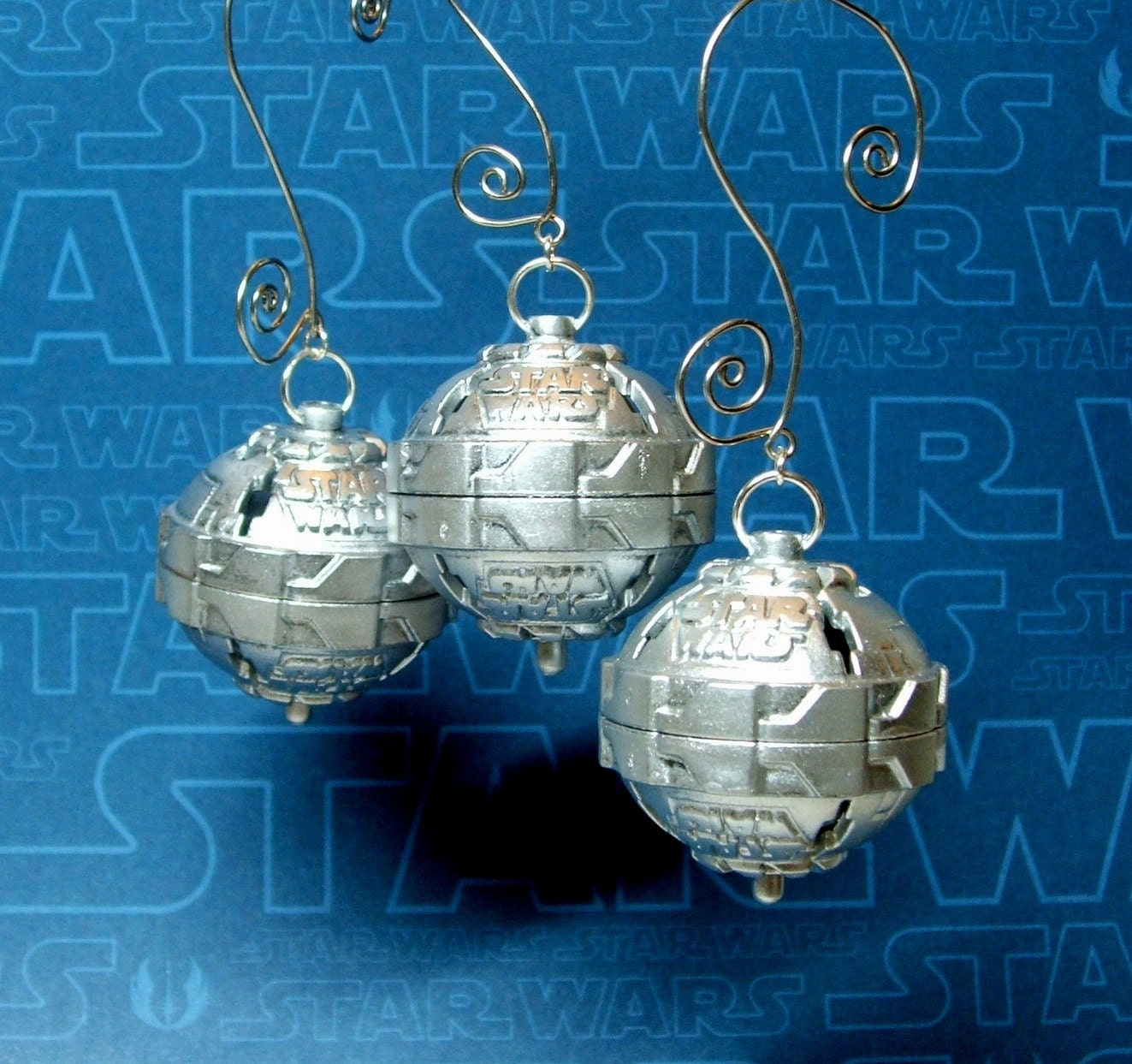 Star Wars Christmas Ornaments In Silver Set Of 3 By MoLGifts