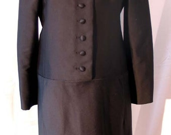 1960's Black Silk Faille Coatdress, Size 6-8, Marshall Field's Couture 28 Shop,   OFFERS CONSIDERED!