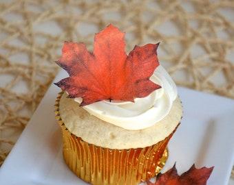 Edible Maple Leaves - Dark Burnt Orange/Red 1 dozen - Cake & Cupcake toppers - Food Decoration