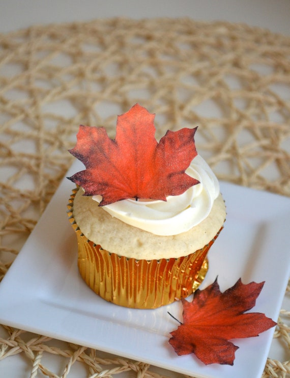 Edible Maple Leaves - Dark Burnt Orange/Red 1 dozen - Cake & Cupcake toppers - Food Decoration