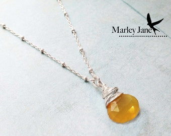 Sterling Silver Citrine Necklace Wire Wrapped Yellow Citrus Gem