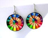 Gift for Teacher, Teachers Earrings, Neon Pencils Rainbow Mandala Earrings, Writer Student Artist Gift, Math Nerd Gift, Geekery, Geek Chic