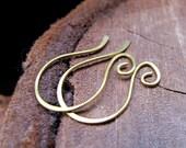 Artisan Earwires - French Style Earring Hooks - Brass Swirl Earwires 20 gauge  - Jewelry Findings - Unique Ear Wires - Earrings Components