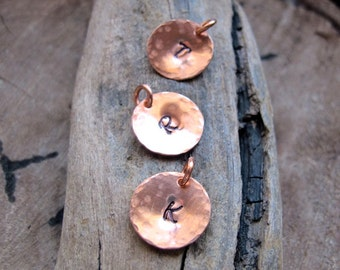 Custom Initial Charm - Artisan Personalized Add On - Hand Stamped Copper Disc - Hammered Texture, Add a Tag - Hammered Tags / Initial Tags