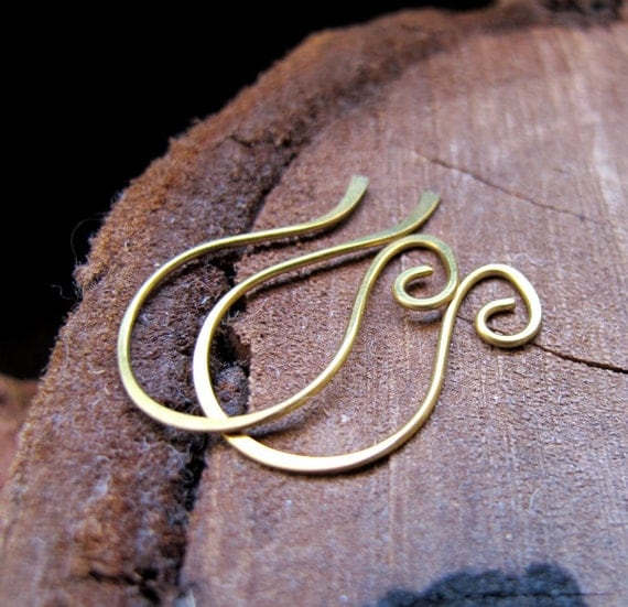 Artisan Earwires - French Style Earring Hooks - Brass Swirl Earwires 20 gauge  - Jewelry Findings - Unique Ear Wires - Earrings Components
