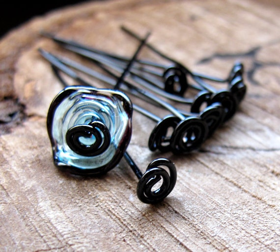 Black Head Pins 1.5 inch - Artisan Swirl Headpins 20 gauge - Enameled Copper Jewelry Supplies 10 pcs / Top Spiral Headpins Artisan Eye Pins