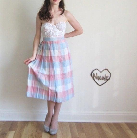 unicorn tartan skirt . high waist librarian . pink blue plaid .medium.large .sale s a l e