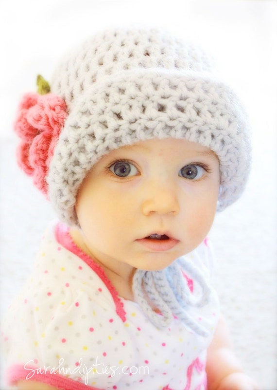 Crochet Baby Bonnet Hat  - Flapper Hat with Flower  - You Choose Color