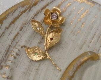 Vintage Gold Rose Brooch with Rhinestones - Birthstones