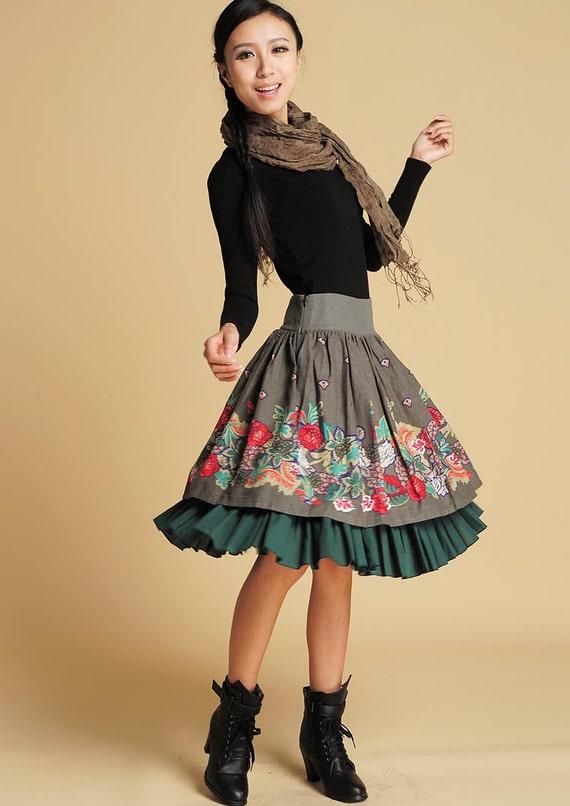Midi skirt, floral skirt, linen skirt, high waisted skirt, ruffle skirt, pleated skirt, skater skirt, mini skirt, custom skirt (370)