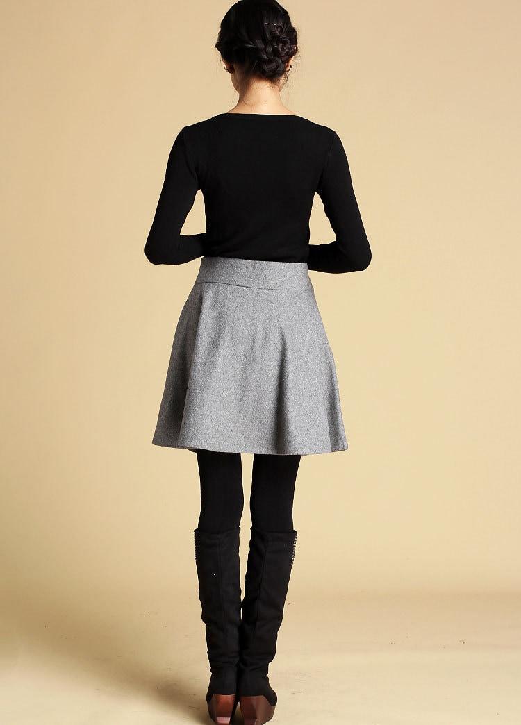 skirt grey skirt a line skirt swing skirt high
