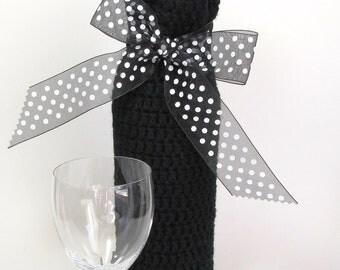 Wine Cozy Bottle Sack Midnight Black White Polka Dots Ribbon Gift Bag