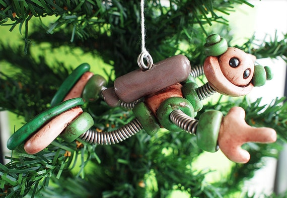Green Gip JetPack  ROBOT CHRISTMAS ORNAMENT Clay, Wire, Paint
