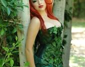 Poison Ivy 3 pc Green Leaf Corset Costume Set Batman Villan Custom Size Comic Con/Halloween
