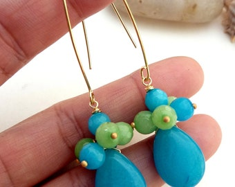 Turquoise Blue Jade with Apatite and Apple Green Alabaster Gems Long Golden Lotus Petal Earrings