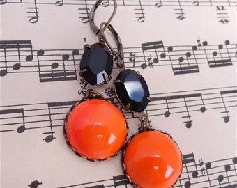 Baltimore Orioles Fan Earrings Halloween Earrings Vintage Swarovski Black Orange Retro Milk Glass Rhinestones