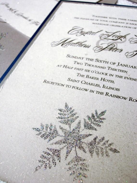 items similar to winter wedding invitations silver With embossed snowflake wedding invitations