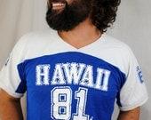 RARE Vintage Surfer Hawaii 1981 1980s Mesh Cropped Tee Shirt
