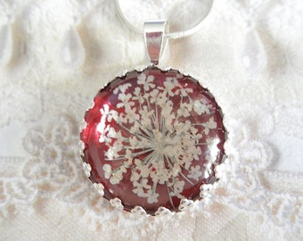 Queen Anne's Lace Beneath Glass Atop Luscious Burgundy Background Pressed Flower Crown Pendant-Symbolizes Peace-Gifts Under 25 Dollars