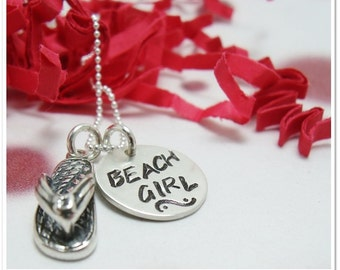 Hand Stamped Necklace - Beach Girl Flip Flop Charm Necklace