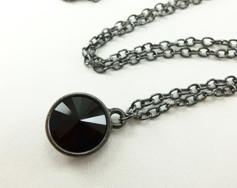 Gothic Crystal Necklace Dark Jewelry All Black Necklace Rivoli