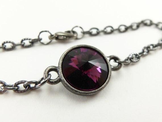 February Birthstone Amethyst Bracelet Amethyst Crystal Chain Bracelet Dark Silver Gunmetal Jewelry Purple Crystal