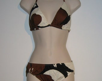 Vintage 1970s Hawaiian Swimsuit, bathing suit. Classic 2 piece.  Brown, Black and White.  Bikini Made in Hawaii.
