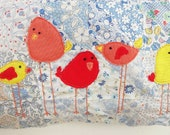 Patchwork Bird Bag, Bird appliques, Vintage Patchwork, trims, Kiss-lock, Leather