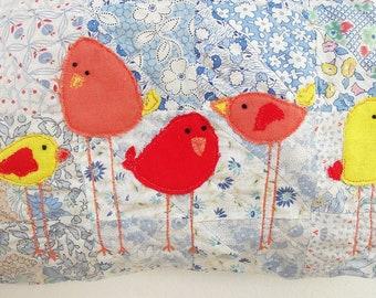 Patchwork Bird Bag, Bird appliques, Vintage Patchwork, trims, Kiss-lock, Leather