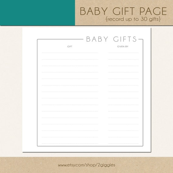 Baby Gift Page (GREY) - Include in your Two Giggles Baby Album