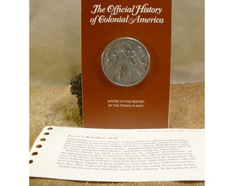 Bacon's Rebellion - 1686 - Official History of Colonial America Pewter Medal by The Franklin Mint