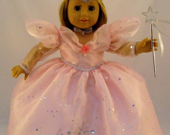 Glinda the Good Witch Gown from The Wizard of Oz, with Crown and Wand sized for American Girl Doll or other 18 inch doll
