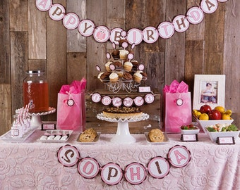 Pink Owl Theme HAPPY BIRTHDAY Banner - Child's First Birthday Banner - Owl Birthday Party Banner