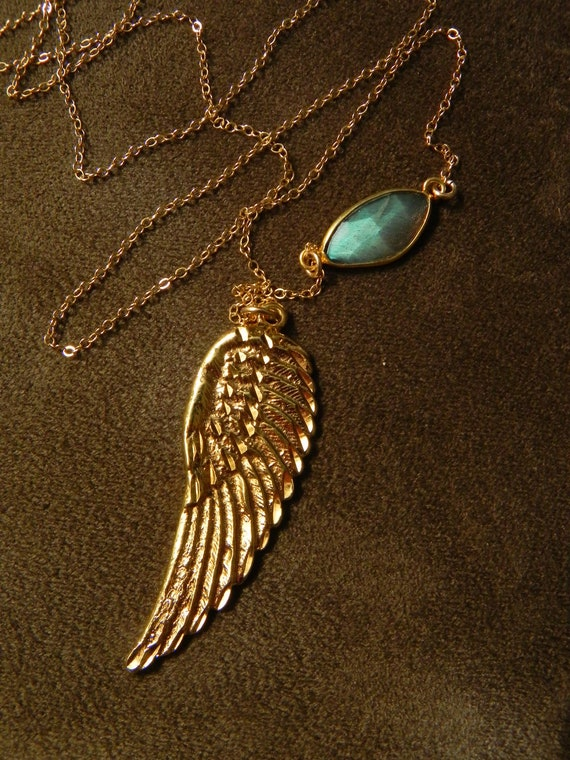 Fiery Labradorite and Large Golden Wing with 14kt Gold Filled Chain Necklace