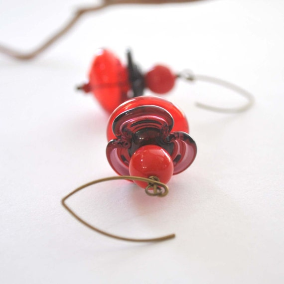 Big Red Flower Glass Earrings