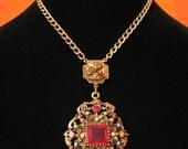 Antique Victorian Gold Tone White Faux Pearl and Red Ruby Crystal Glass Diamond Rhinestone Filigree Amulet Medallion Necklace