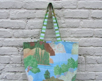 Lake View Upcycled Simple Shopper - Vintage Scenic Trees and Stripes Reversible Market / Eco Grocery Bag / Shopping Tote - Eco Friendly Gift