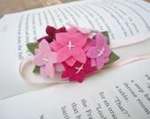 Mini Pink Felt Hydrangea Flowers - Elastic  Headband