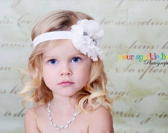 White Flower Headband, Chiffon Flower Puff w/ Pearls & Crystals Headband or Clip, The Cecilia, Baptism, Baby Child Girls Headband