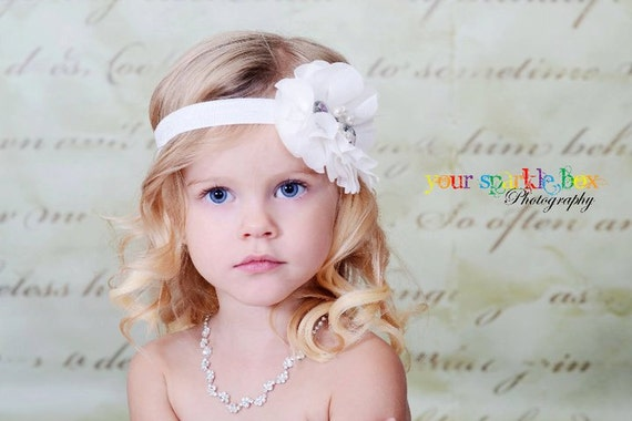 White Flower Headband, Chiffon Flower Puff w/ Pearls & Crystals Headband or Clip, The Cecilia, Baptism, Baby Child Girls Headband