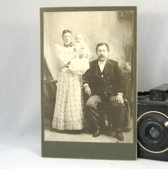 Vintage Cabinet Card Photograph Antique Photo Victorian Couple with Baby