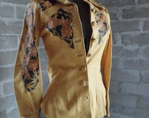 North Beach Leather jacket and pants suit. Hand painted