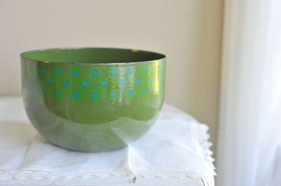 Reserved for Traci /// 1960s Mod Scandinavian Enamel VEFA Green and Blue Bowl by Merrill Ames West Germany