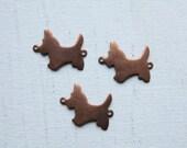 6 Cute Vintage 1960s Scottish Terrier copper / brass Connectors // Toto Bracelet // Wizard of Oz