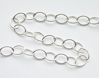 5 feet, Italian Sterling Silver Chain, 4mm x 6mm Smaller Oval Link Chain, M/FZR060