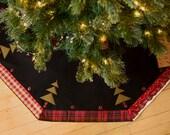 Christmas Tree Skirt Rustic Plaid Made in USA 52 inch Lodge Plaid Black Christmas Tree Skirt